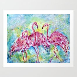Three Flamingos Art Print
