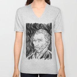 Van Gogh in black Unisex V-Neck
