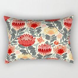 Protea Chintz - Grey & Red Rectangular Pillow