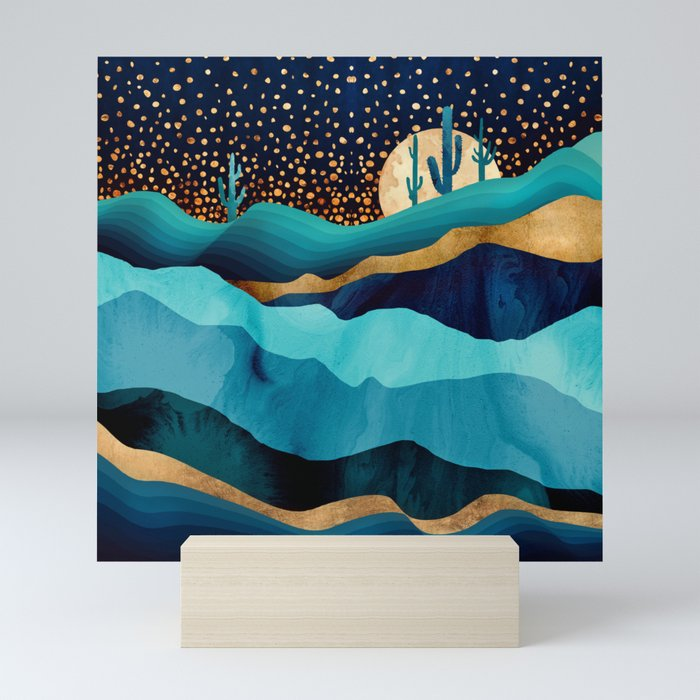 Indigo Desert Night Mini Art Print