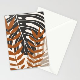 Neutral tropical monstera and palm leaf Stationery Cards