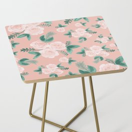 Watercolor Roses in Soft Pink Side Table