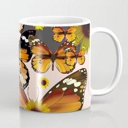 MODERN ART COFFEE & CREAM COLORED BROWN BUTTERFLIES Coffee Mug