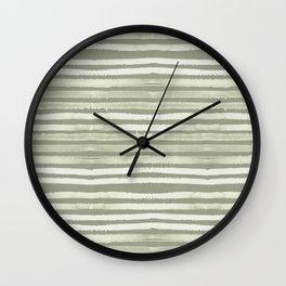 Simply Shibori Stripes Green Tea and Lunar Gray Wall Clock