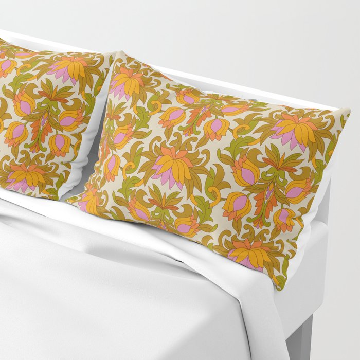 Orange, Pink Flowers and Green Leaves 1960s Retro Vintage Pattern Pillow Sham