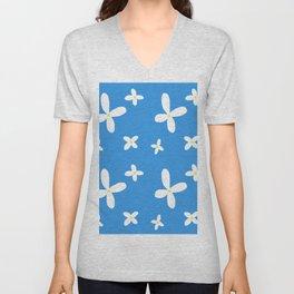 Classic Blue and White Flowers Unisex V-Neck