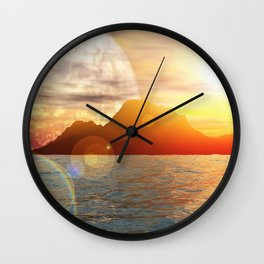 Sunny day on alien planet Wall Clock