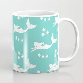 Mermaid Pattern Sea Green Coffee Mug