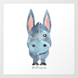 Water Colour Baby Donkey Art Print