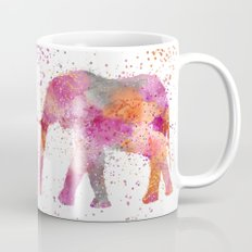 Artsy watercolor Elephant bright orange pink colors Mug