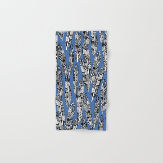 geo feathers blue Hand & Bath Towel