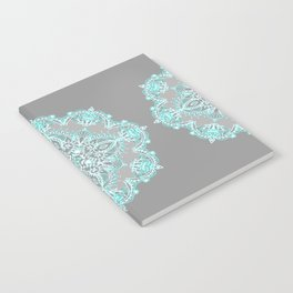 Teal and Aqua Lace Mandala on Grey Notebook