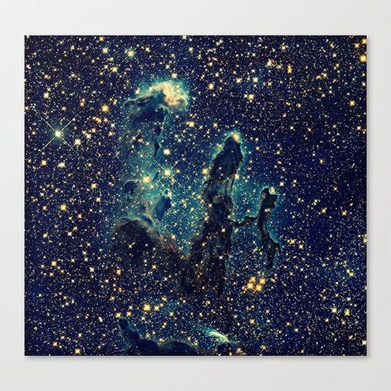 GalaxY  Teal Blue & Gold Canvas Print