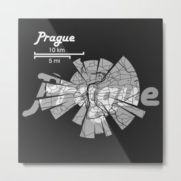 Prague Map Metal Print