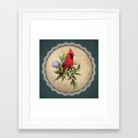 cardinal Framed Art Prints featuring Cardinal by Ludovic Jacqz