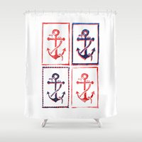anchors Shower Curtains featuring Abundant Anchors by Isobel Woodcock Illustration