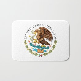 Coat of Arms & Seal  of Mexico on white Bath Mat