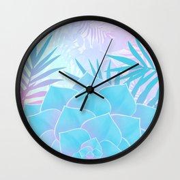 Pastel Rainbow Tropical Flower Paradise Design Wall Clock