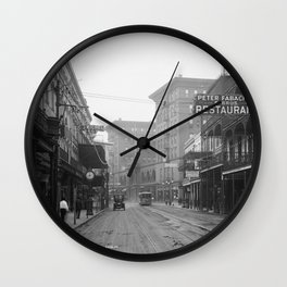 St. Charles Street from Canal, New Orleans, LA Wall Clock