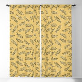 Fishes on Gold Water. Mediterranean Sea Pattern Collection Blackout Curtain