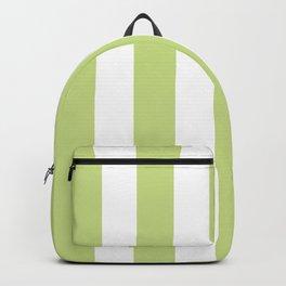 Medium spring bud green - solid color - white vertical lines pattern Backpack