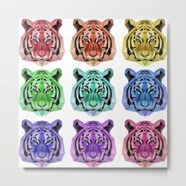 Rainbow Tiger Heads Metal Print