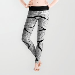 Black and White Modern Abstract Geometric Leaves Leggings
