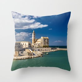 The beautiful Romanesque Cathedral Basilica of San Nicola Pellegrino, in Trani Throw Pillow