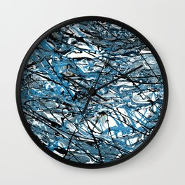 Teal Chaos Abstract Expressionism Art Wall Clock