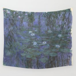 Claude Monet Water Lilies blue Wall Tapestry