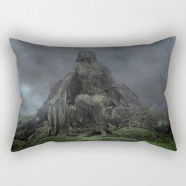 Giant Goddess Statue on a Green Hilly Landscape Rectangular Pillow