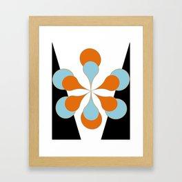 Mid-Century Modern Art 1.4 Aqua Orange Flower Framed Art Print