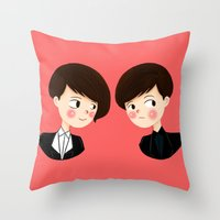 tegan and sara Throw Pillows featuring Tegan and Sara by Christina Abigail
