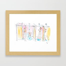 What happens behind the curtains Framed Art Print
