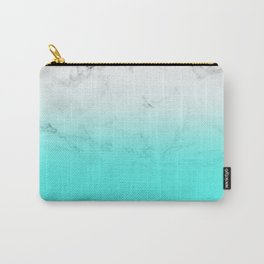 Modern bright aqua blue ombre gradient white marble by Girly Trend Carry-All Pouch
