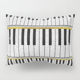 White Leather Piano Keys pattern with golden lines Pillow Sham