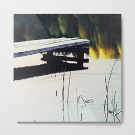 Autumn Lake, Color Film Photo, Analog Metal Print