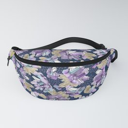 Amethyst Crystal Clusters / Violet, Blue and Gold Fanny Pack