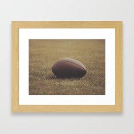 Football Resting in Grassy Turf Aged Effect Framed Art Print
