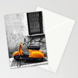Orange Vespa in Bologna Black and White Photography Stationery Cards