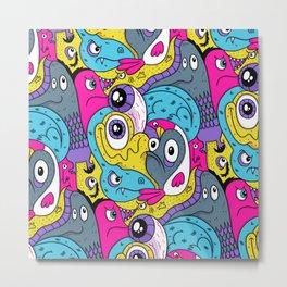 Idiot Bird Pattern Metal Print