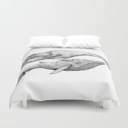 A Couple Of Whales  by Michelle Scott of dotsofpaint studios Duvet Cover