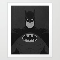 dc comics Art Prints featuring Bat-man Black and White DC Comics Art Print by The Retro Inc