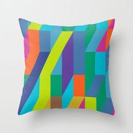 neon geometric frenzy Throw Pillow