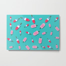 Popsicles and Firecrackers Pattern  Metal Print