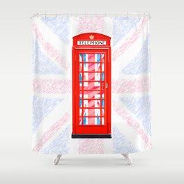 British Flair - Classic Red Telephone Box & Union Jack Shower Curtain