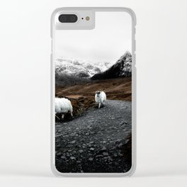 SHEEP - MOUNTAINS - SNOW - ROAD - PHOTOGRAPHY - FUNNY Clear iPhone Case