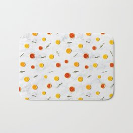 White, Red and Yellow Citrus Fruits on Marble Floor Artwork Abstract Bath Mat