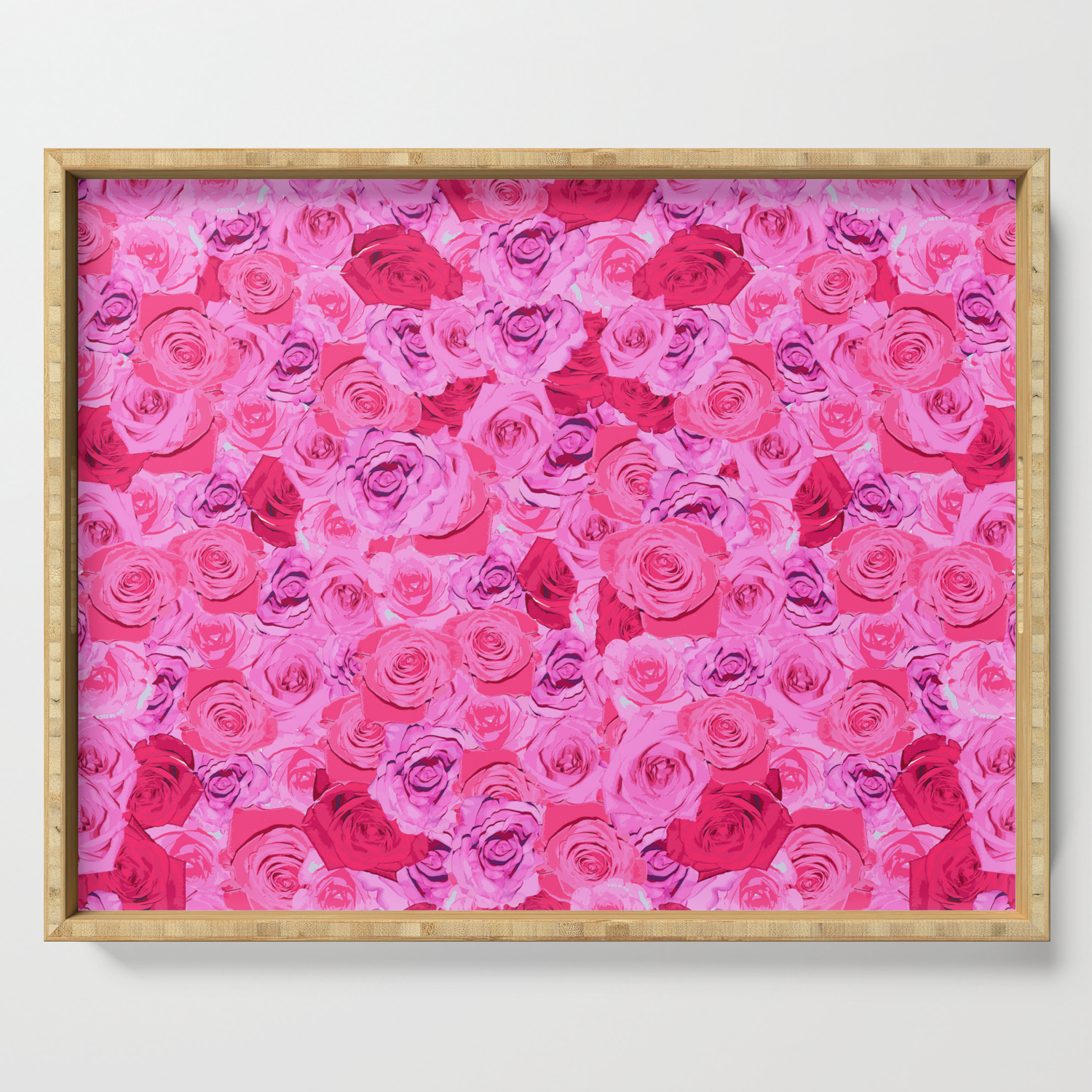 Floral Pink And Red Roses Tumblr Aesthetic Serving Tray By