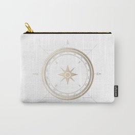 Gold Compass on White II Carry-All Pouch